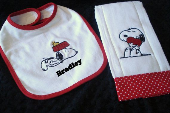 Monogram Baby Bib & Burp Cloth Baby Shower by BellaBrookEmbroidery