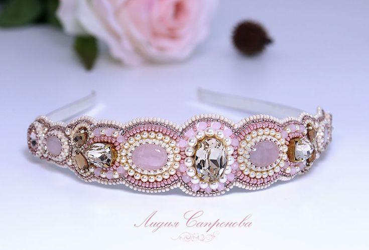 Купить Ободок Ванильный зефир - кремовый, бежевый, бледно-розовый, ободок для волос, украшения для головы