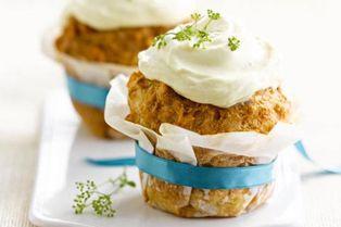 Cupcake de pomme de terre et thon sauce curcuma