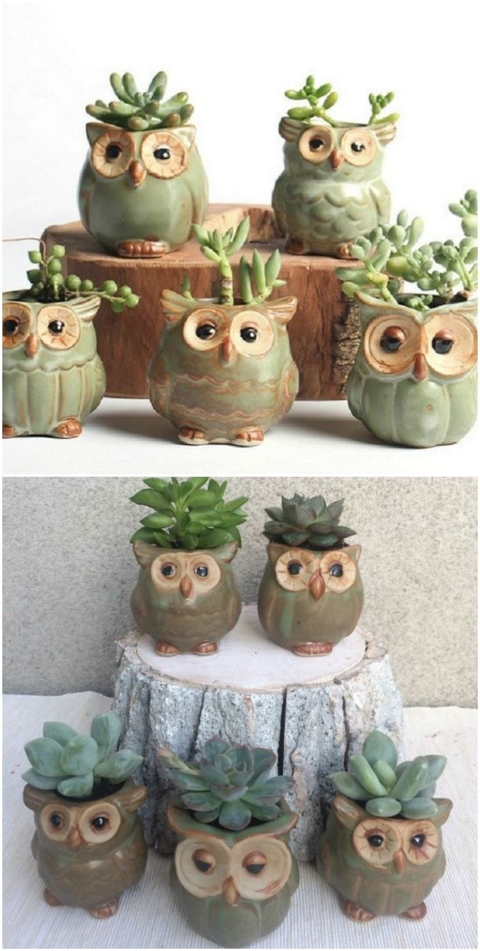 These owl planters are completely owldorable maceteros - Maceteros de arcilla ...