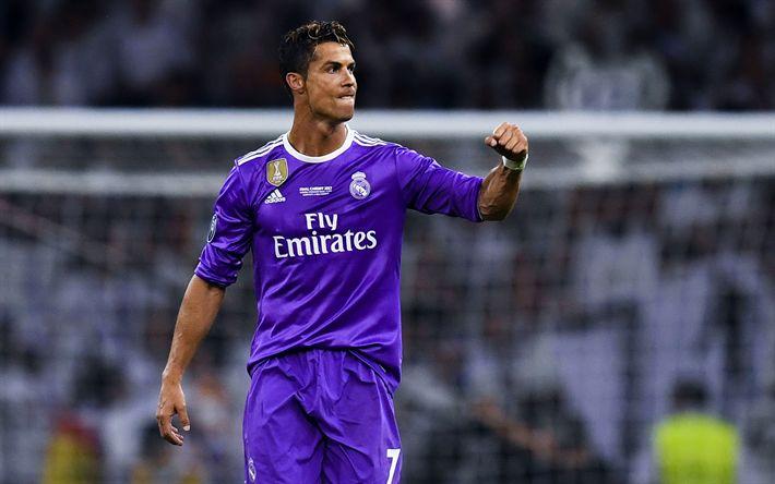Download imagens Cristiano Ronaldo, 4k, O Real Madrid, La Liga, violeta uniforme, Espanha, CR7, futebol, Galácticos