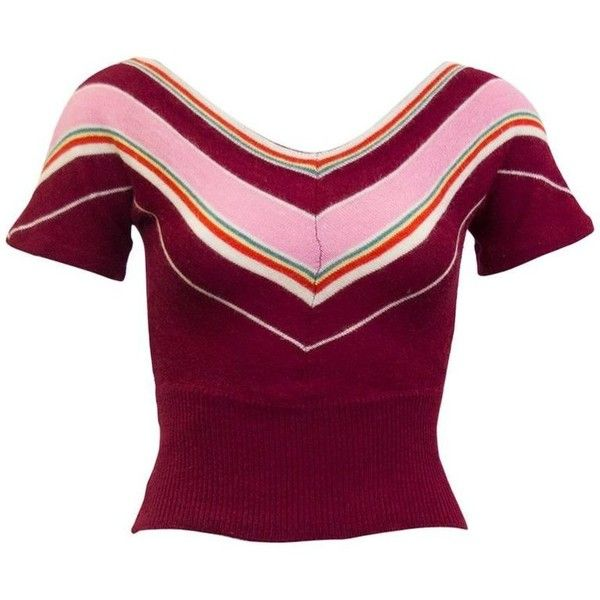 Preowned 1960s Dorothe Bis Maroon, Pink And Green Chevron Stripe... ($195) ❤ liked on Polyvore featuring tops, sweaters, pink, pullovers, pink sweater, v neck pullover sweater, pink wool sweater, v neck sweater and maroon sweater