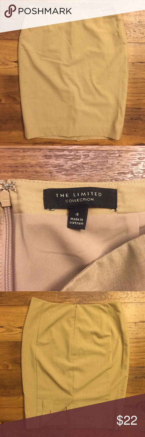 """The Limited beige pencil skirt size 4 Pencil style. Lined. Back zipper. Back slit. Color most accurately reflected in second photo. 15"""" across at waist. 21.5"""" long. The Limited Skirts Pencil"""