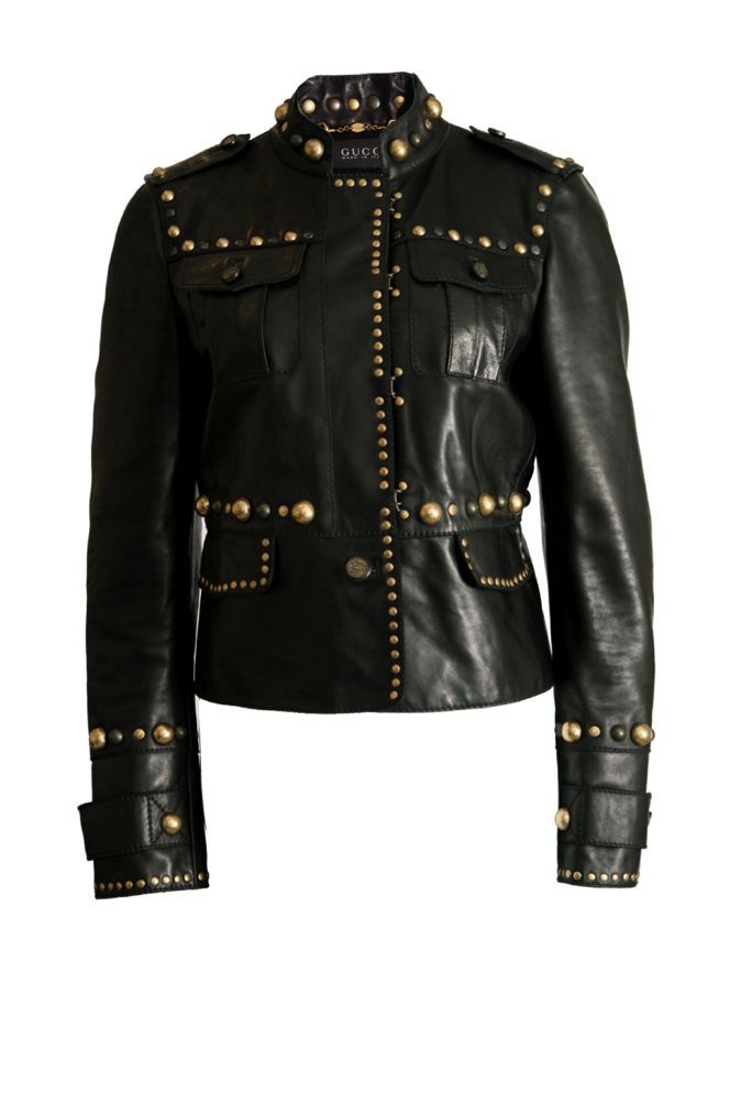 685c31503 Gucci Gucci, leather jacket with golden studs all over from the babushka  collection in size