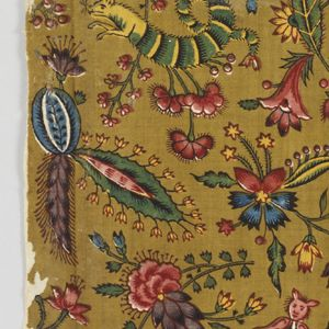 Textile, Les Coquecigrues, ca. 1792    cotton.  Fragment of printed cotton with small-scale design of exotic flowers and fantastical insects in blue, green, yellow, and many shades of purple, red and pink on a puce ground.