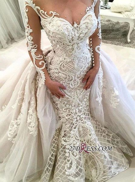 71e1cf933ab Dubai Arabic Luxury Sparkly 2018 Wedding Dresses Sexy Bling Beaded Lace  Applique High Neck Illusion Long Sleeves Mermaid Chapel Bridal Gowns Corset  Wedding ...
