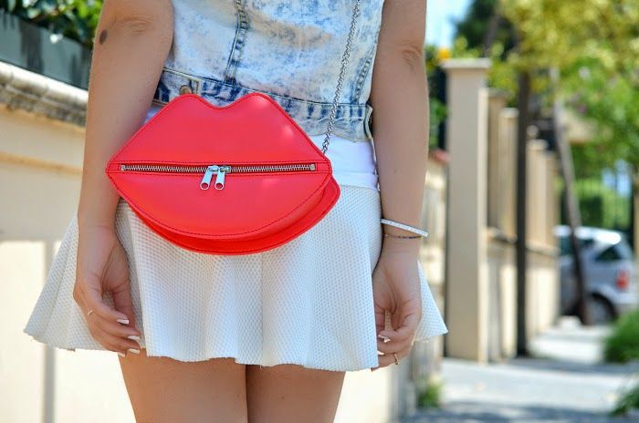 #lips #bag #white #skirt #denim #gilet #jacket #fashionblogger #fashion#casual #sporty #style #look #outfit #inspiration #vogueforbreakfast #summer #amzing #happy #girl