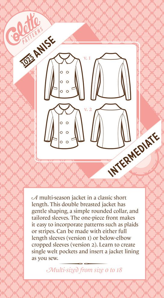 ANISE JACKET PATTERN by Colette Patterns sizes 0-18 new. $15,00, via Etsy.