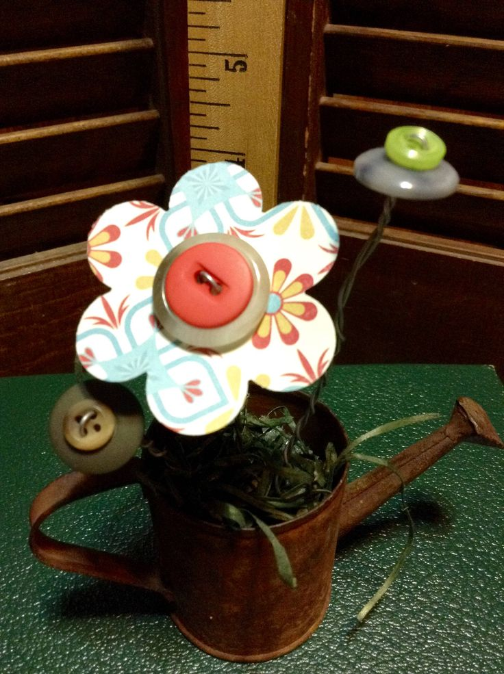 BUTTON BOUQUET sm watering can rustic blue, vintage buttons, flowers, upcycle, repurposed, gift, home decor by EffiesEclecticCloset on Etsy