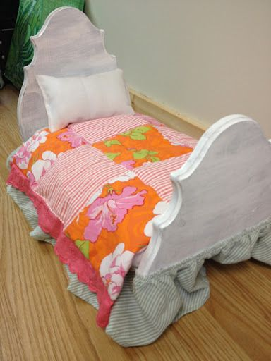 DIY American Girl Doll Bed using a $13 wood plaque from Walmart and fabric and wood scraps!