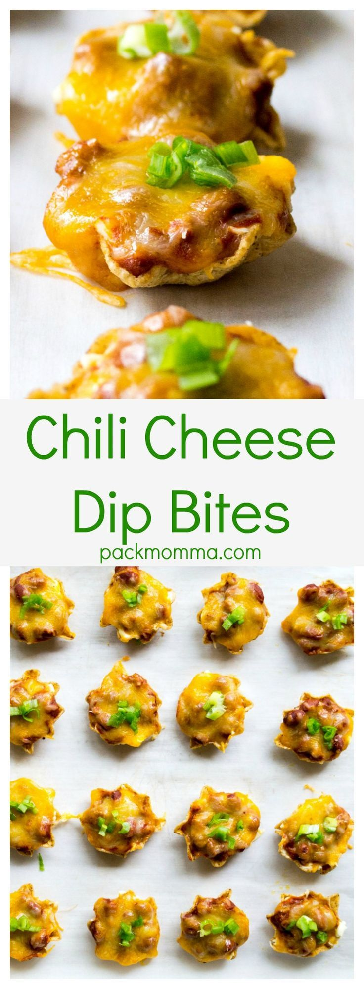 Chili Cheese Dip Bites | Chili Cheese Dip Bites combine spicy chili, melted cheddar cheese and cream cheese and deliver it in individual little nacho chips. Perfect for Game Day!