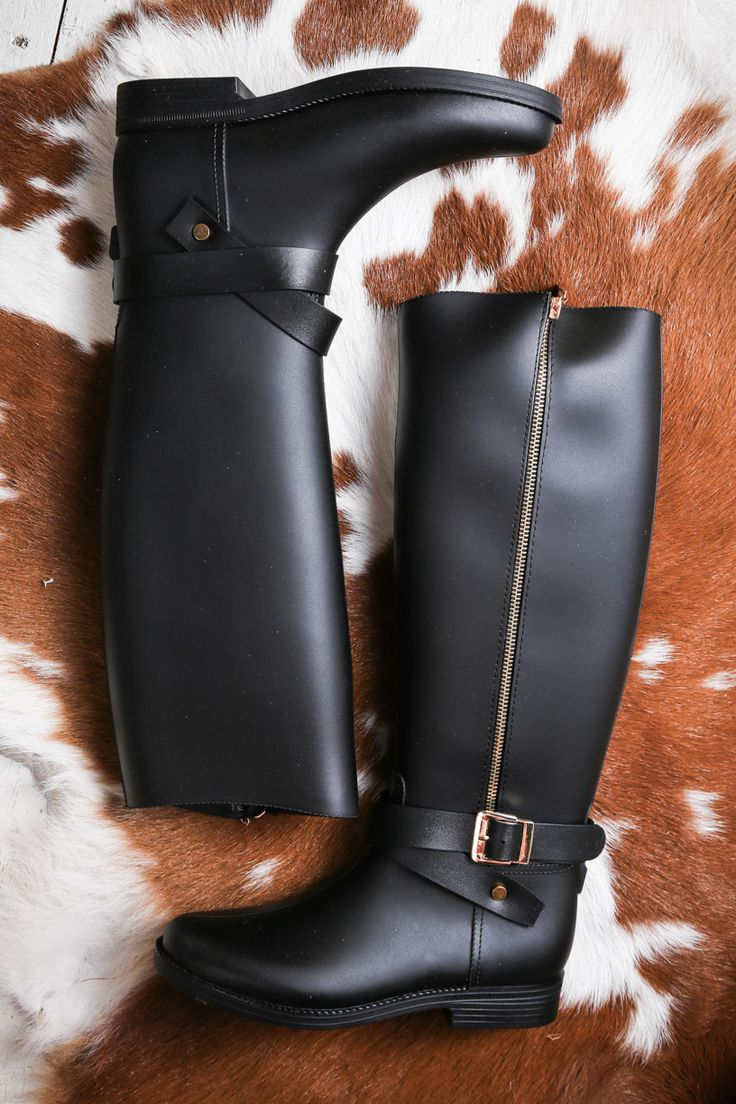 Keep your feet dry and look so stylish in these tall PVC rainboots. GENERAL…