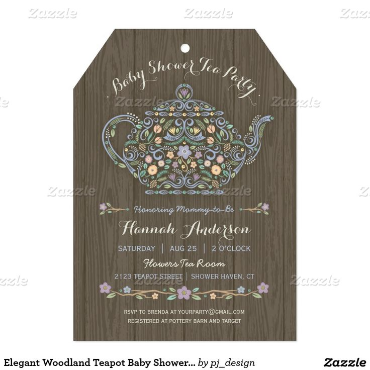 baby shower invitation for twins%0A Elegant Woodland Teapot Baby Shower Invite