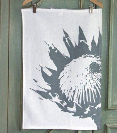 Protea Charcoal Tea Towel