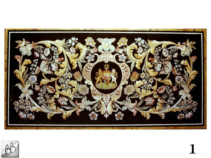 Table top inlaid and decorated in scagliola made for Kensington Palace, London by Bianco Bianchi