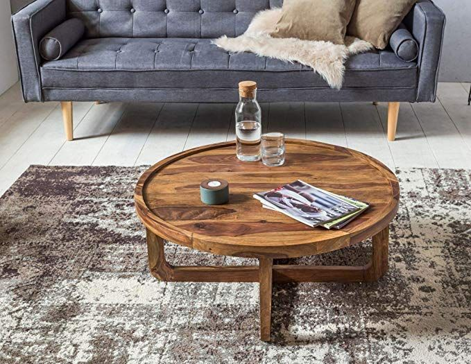 Wohnling Couchtisch Massiv Holz Sheesham Rund 85 Cm Wohnzimmer Tisch Design Dunkel Braun Landhaus Stil Beistelltisc Couchtisch Massiv Couchtisch Sheesham Mobel