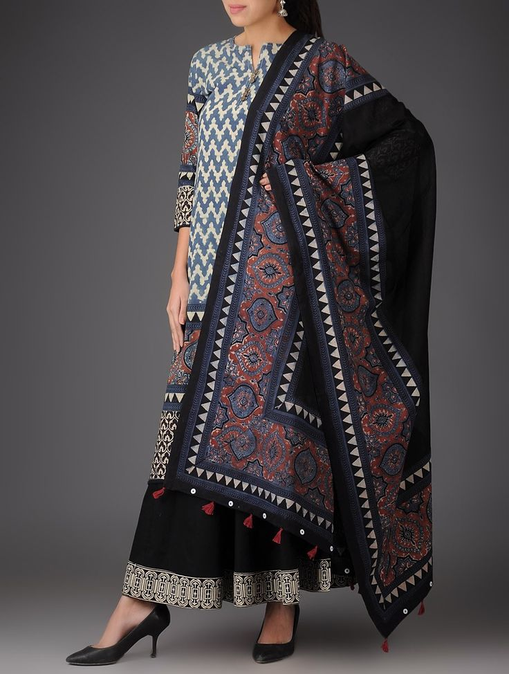 Buy Blue Beige Black Red Ajrakh Cotton Kurta with Palazzos & Dupatta (Set of 3) Urbane Imprints Printed Apparel and Footwear Online at Jaypore.com