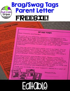 FREE and EDITABLE parent letter about brag/swag tags.