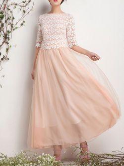 Paneled Organza Maxi Dress