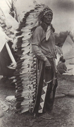 Iron Tail - Oglala - circa 1914 {Note: Sinte Maza (aka Iron Tail) was an Oglala Lakota man who fought at the Battle of the Little Big Horn in 1876. He also performed with Buffalo Bill's Wild West Show during the 1890's and with the Miller Brothers 101 Ranch Wild West Show near Ponca City, Oklahoma from 1913 to 1916. He died of pneumonia on 28 May 1916 while traveling by train to South Dakota. He was one of three models for the Indian Head Nickel designed by James Earle Fraser.}