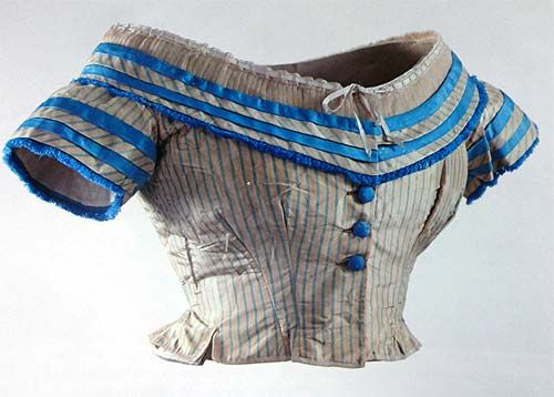 Evening bodice, circa 1864, likely French. Striped and bright blue taffeta, covered buttons. House of Colour.
