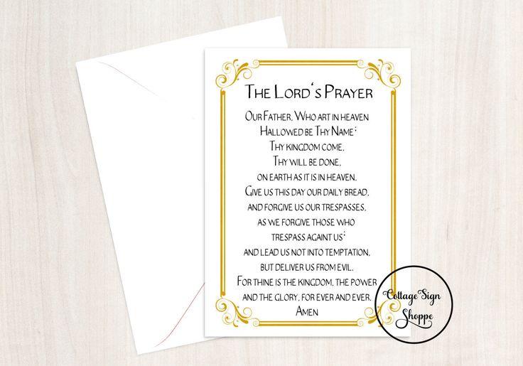 The Lords Prayer, Christian Wall Art, Biblical Greeting Cards, DIGITAL, YOU PRINT, Christian Greeting Cards, Biblical Card, Christian Gifts by CottageArtShoppe on Etsy