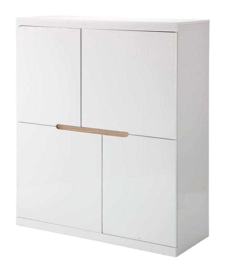 Funky skab - Moderne og smart skab i hvid højglans med fire skabe med smukke assymmetriske låger. Alle låger er grebsfrie og den øverste kant er afrundet for et blødere udtryk.