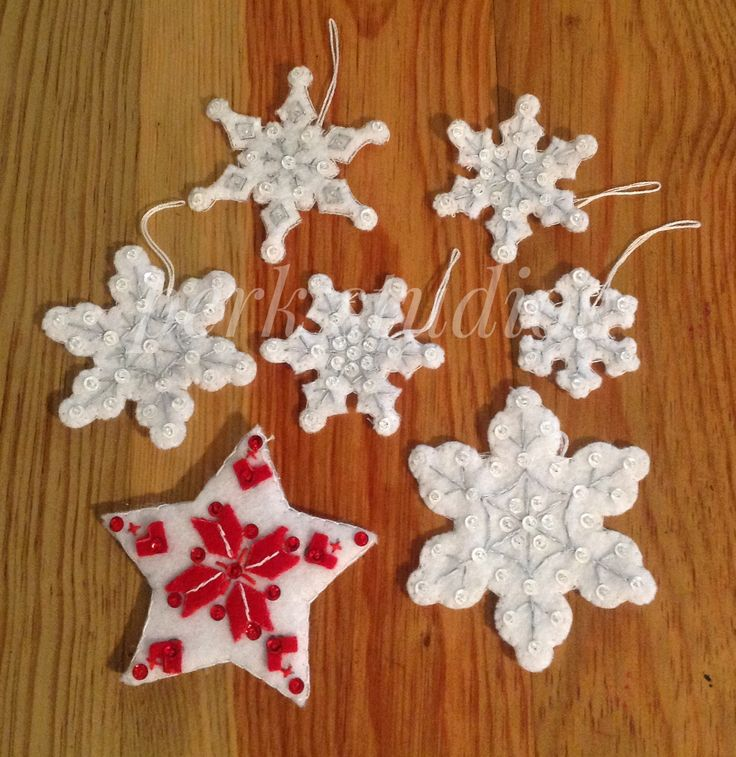 #Bucilla #Snowflakes #Star #Felted Appliqué #perk studios  These items are leftovers from stocking kits that I made into hanging ornaments.
