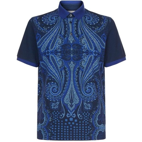 Etro Paisley Polo Shirt (6.195 ARS) ❤ liked on Polyvore featuring men's fashion, men's clothing, men's shirts, men's polos, mens preppy t shirts, mens tailored shirts, mens polo shirts, etro mens shirt and mens paisley shirt