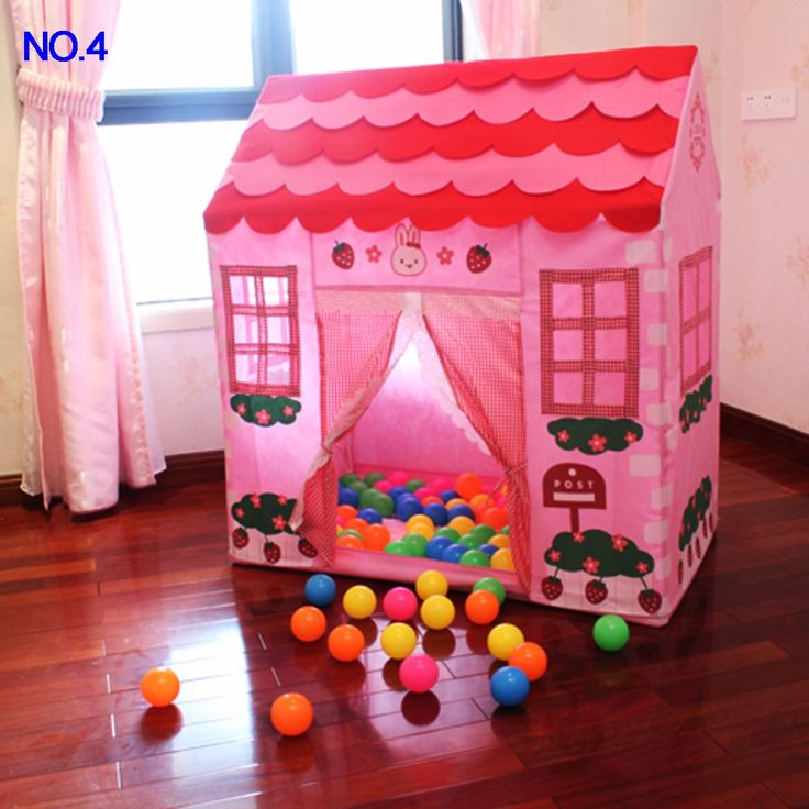 Portable Kids Children Pop Up Play Tent Foldable Girl Princess Castle Indoor Outdoor Play Tents Oceanball Playing Playhouse