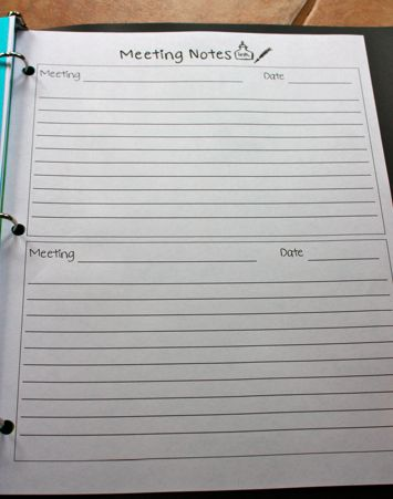 Meeting notes template...insert into teacher binder. I'm always grabbing a new notebook to jot down notes from staff meetings and then can't find the notes I took!