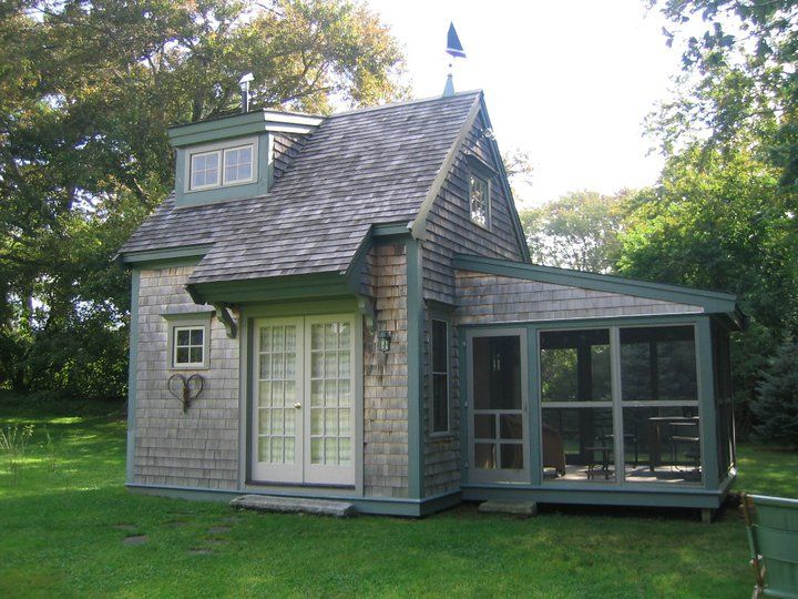 This tiny house on the banks of the Eel river in Plymouth is less than 400 square feet and has a kitchen, full bath, living room, sleeping loft and screen porch.
