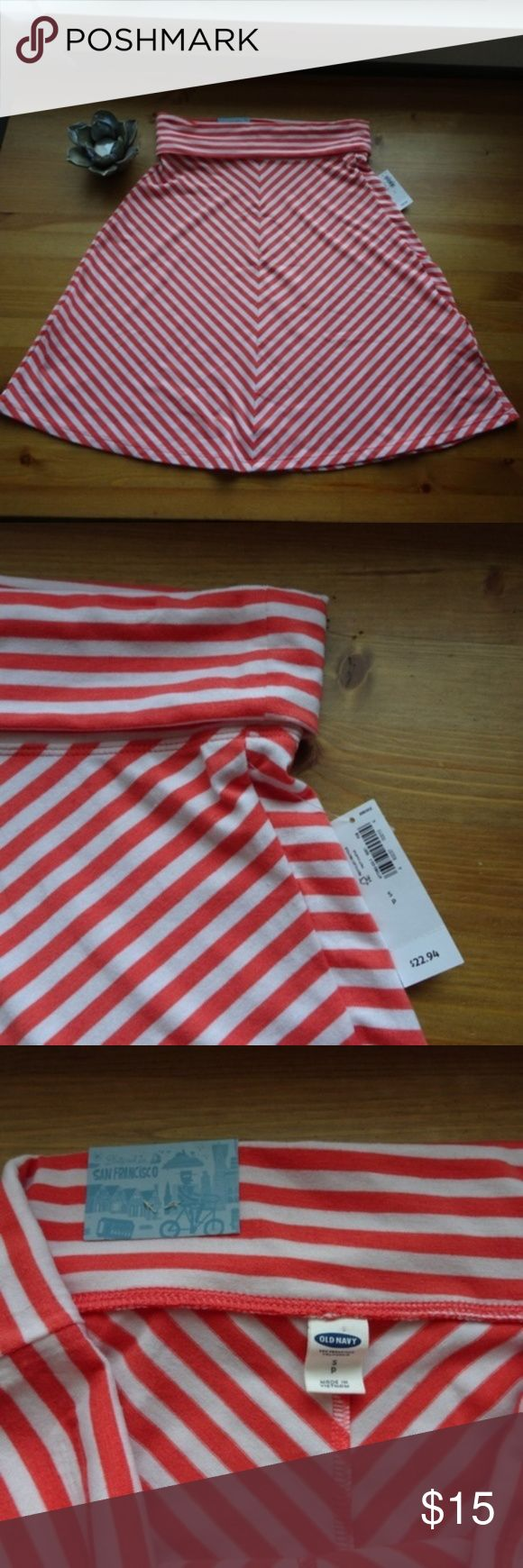 NWT Old Navy Striped Knee Length Skirt NEW Peach / salmon and white striped skirt Folded band at waist Perfect transition to Spring color. Knee length  All items come from a non-smoking home! Old Navy Skirts Midi