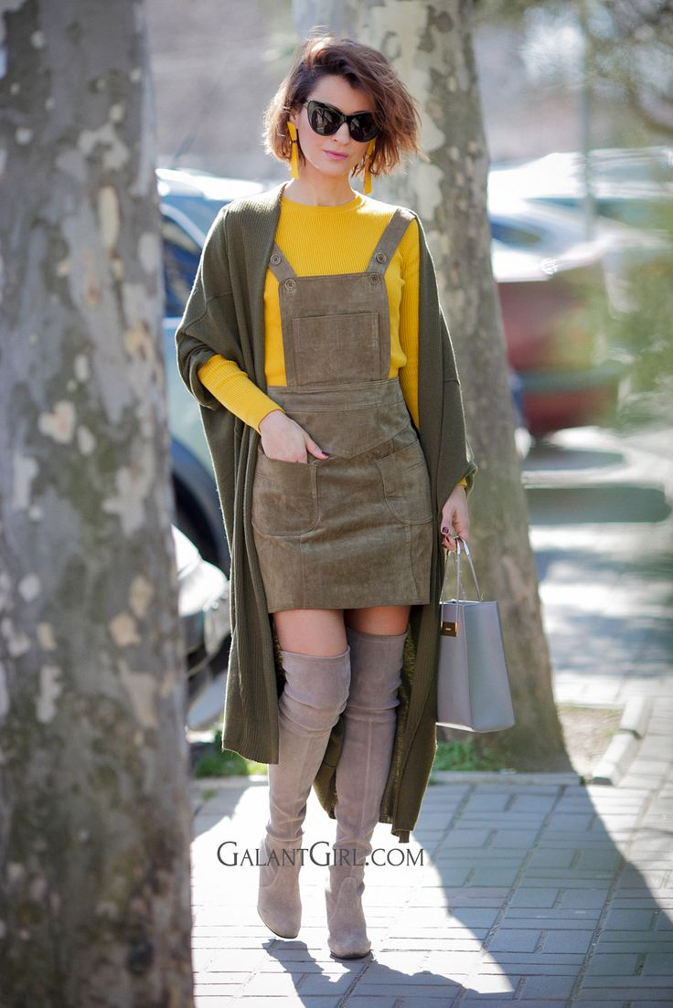 pinafore dress, suede OTK boots outfits, chic spring outfits, Ellena Galant Girl,