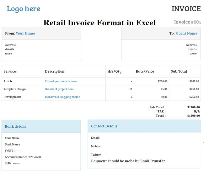 Retail Invoice Format In Excel Sheet Free Download Invoice