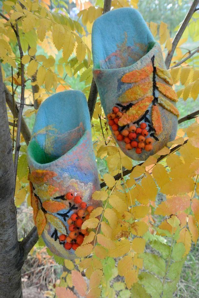 Тапочки домашние валяные ручная работа. Handmade shoes.