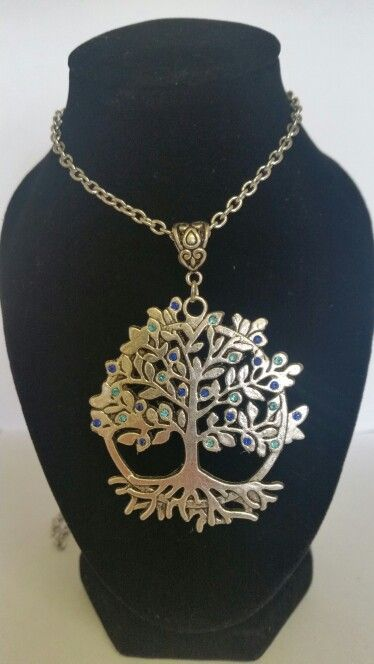 Tree of life pendant necklace. Mix of sky blue and dark blue. AUS $ 14.00