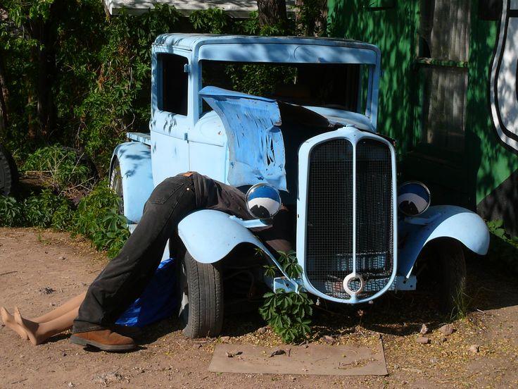 Repairing the car in Seligman.