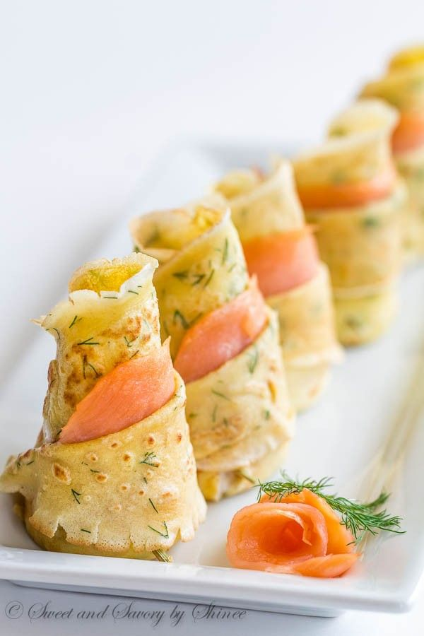 Delicate, thin dill crepes with smoked salmon make absolutely impressive, irresistibly delicious appetizer to jazz up your cocktail party!