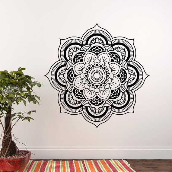 Bohe Mandala Flower Wall Paper Decor Yoga Studio Vinyl: Wall Decal Mandala, Yoga Wall Decal, Mandala Wall Decal