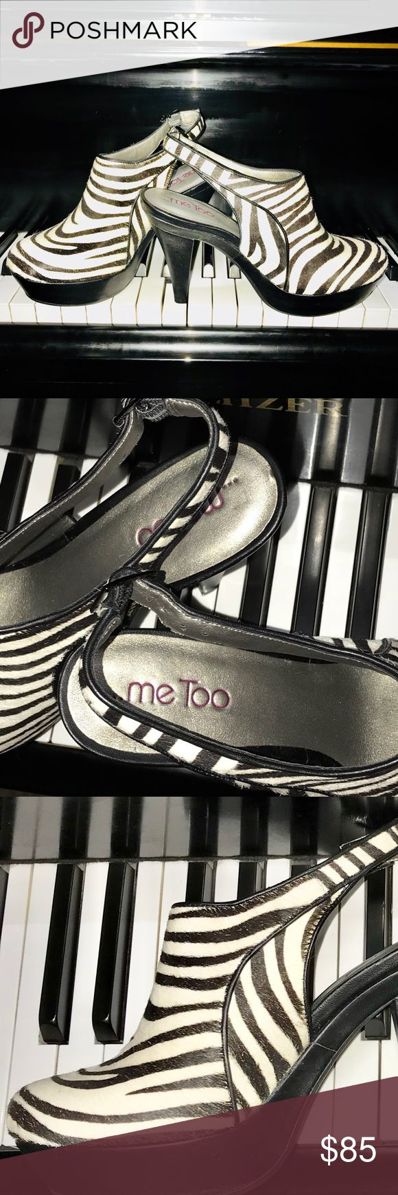 Mee too high heels camey style shoes High heels in camey style with a zebra design, pure leather shoes. Brand new, never been used. These shoes are the definition of comfort and style altogether.   Please ask any questions before buying No trades, exchanges ir returns mee too Shoes Heels