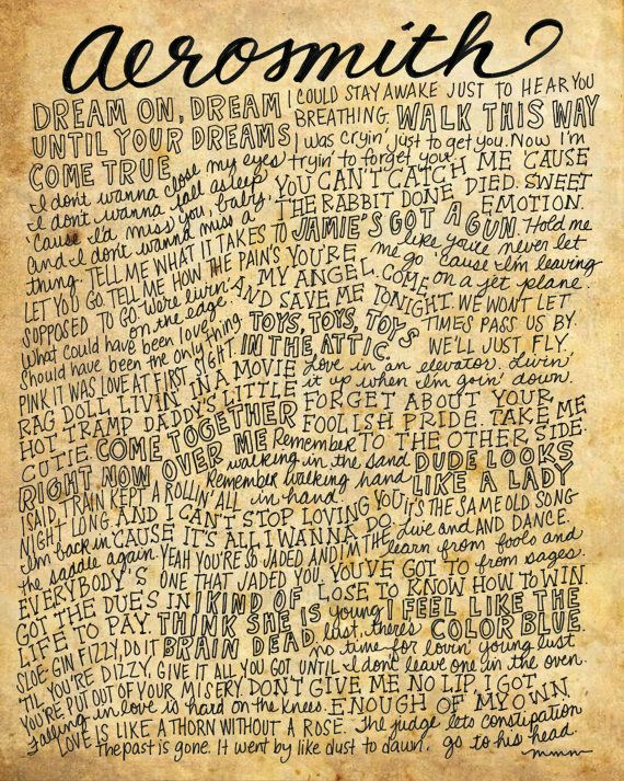 Aerosmith Lyrics and Quotes 8x10 handdrawn and by mollymattin