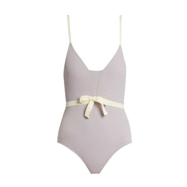 Roxana Salehoun Waist-bow swimsuit (6 090 UAH) ❤ liked on Polyvore featuring swimwear, one-piece swimsuits, light purple, swimming costumes, bow swimsuit, bow swim suit, swim costume and embellished one piece swimsuits