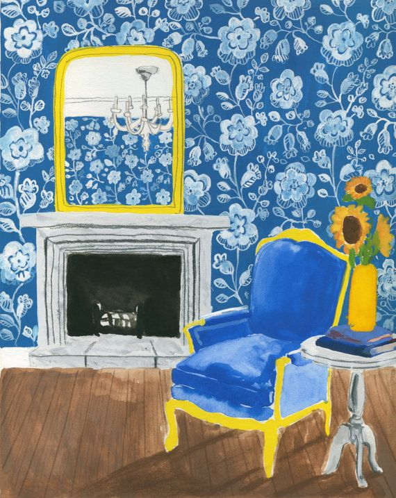 Blue Lounge Giclee Print by SarahDouglasArt on Etsy