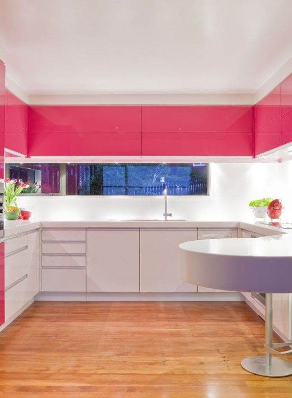 Kitchen Pink Kitchen Cabinet And Wooden Floor Round Dining Table Furniture Ideas Also Pink And White U Shaped Kitchen Design Clever Ways About Kitchen Remodel Ideas You Must See