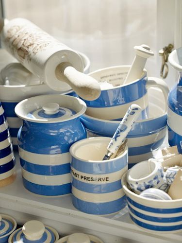 Cornishware... Adore this pottery, and they are making it in red now! Love!