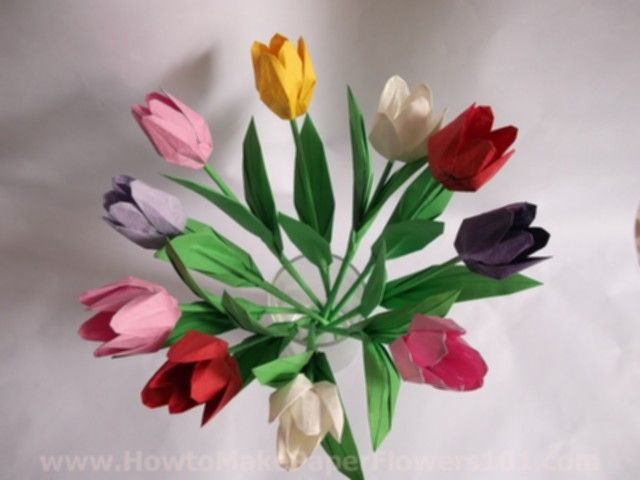 203 best origami bouquets images on pinterest origami flowers paper flowers origami tulip flower with stem how to make paper flowers mightylinksfo