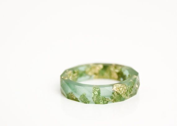 jade green and gold resin ring | size 5.5 | thin multifaceted eco resin band ring | featuring gold leaf flakes