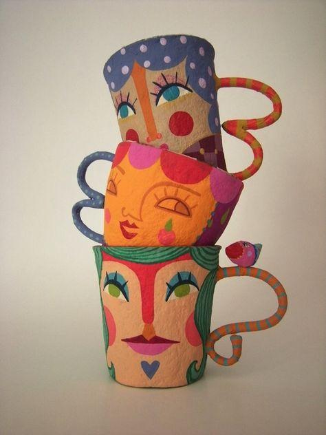 Gorgeous paper mache mugs.