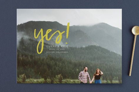 """""""Excitement"""" - Whimsical & Fun, Hand Lettered Full-Bleed Photo Save The Date Cards in Storm by Annie Montgomery x Minted"""